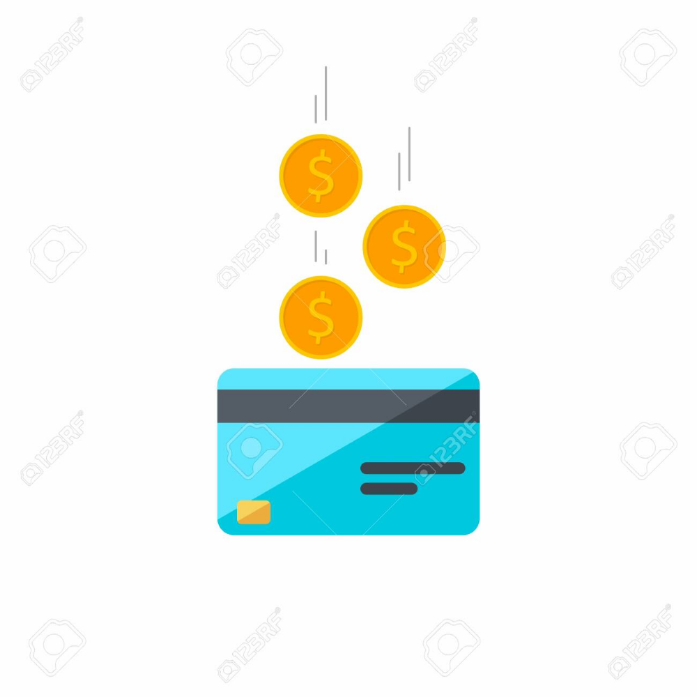 Stock Vector Credit Card Coin Finance Bank Card Business Vector Flat Icon Falling Coins Falling Money Flying Gold Bank Card Card Banner Credit Card