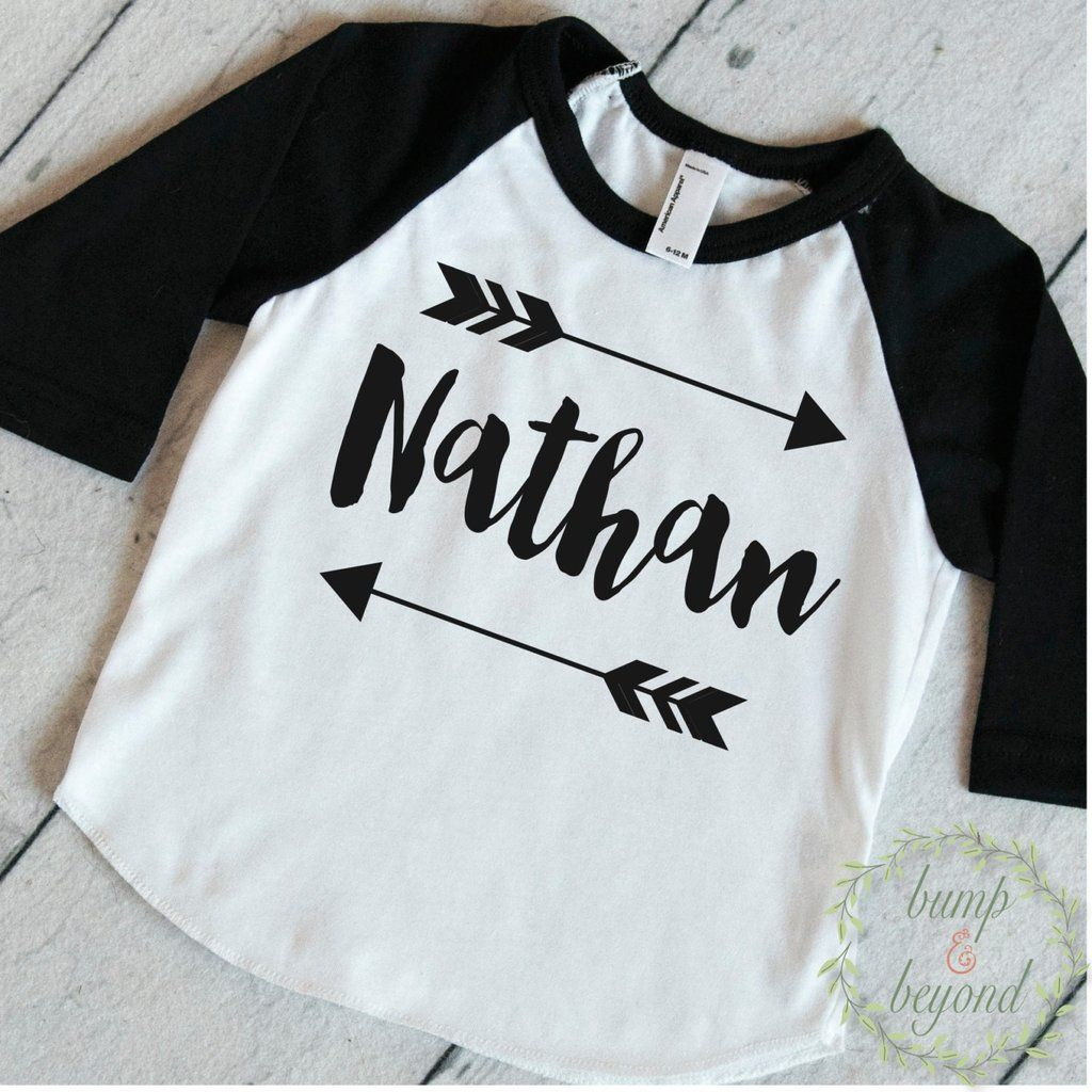 21dbed3b5 Baby Boy Clothes Personalized Name Shirt Hipster Baby Clothes Arrow Custom  Toddler Raglan Shirt Personalized Baby Boy Clothing 086 #Baby #baby_boy #  ...