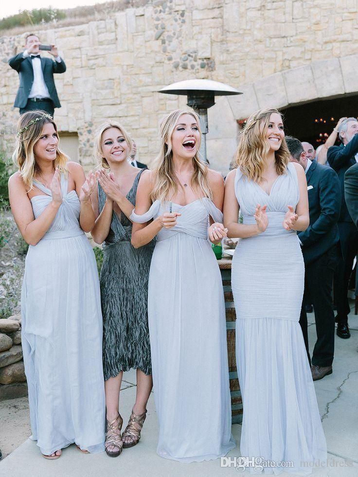 Icy Blue Grey Bridesmaids Dresses