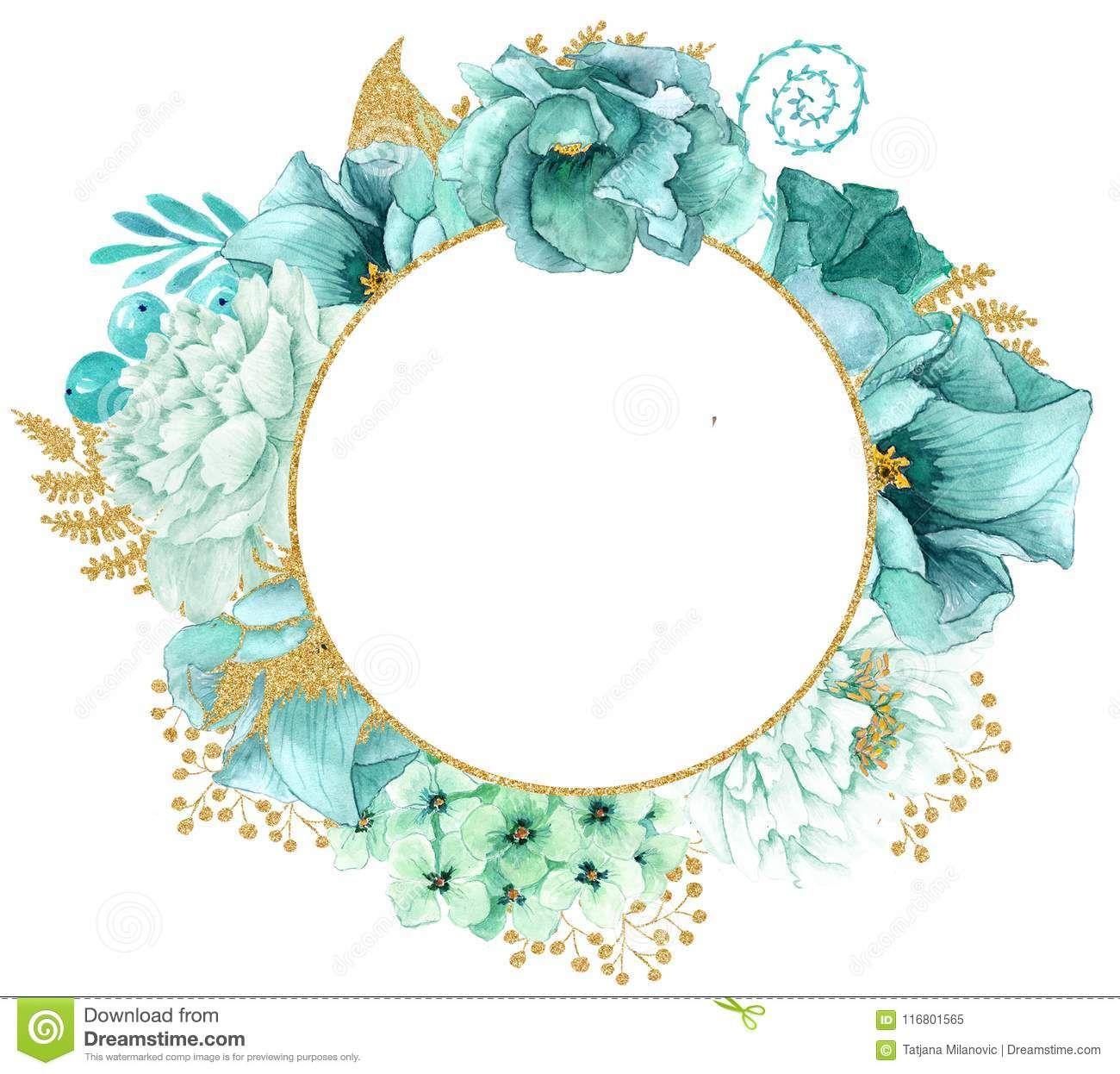 Mint Watercolor Watercolor Flower Wreath Floral Wreath Watercolor Flower Frame