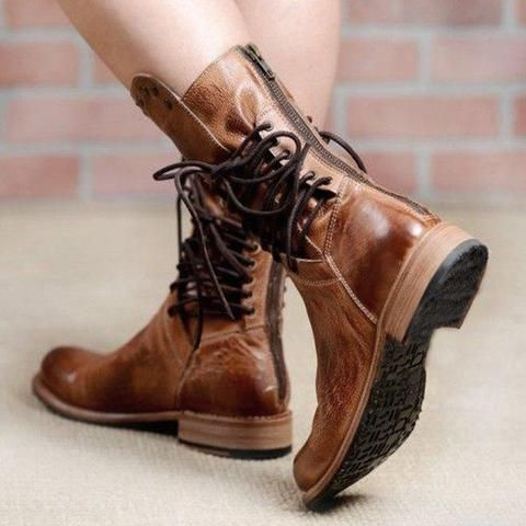 0af7aabf310b Back Zipper Vintage Lace-Up Holiday Mid-calf Boots – judedress