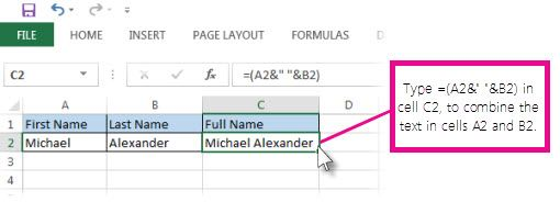 Combine Text From Two Or More Cells Into One Cell Excel Microsoft Word Lessons Excel Microsoft Excel Tutorial