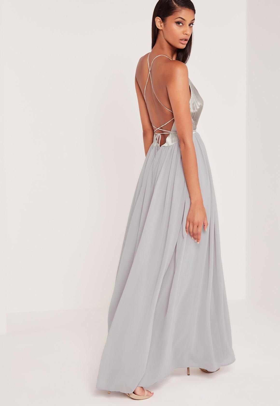 Missguided - Carli Bybel Pleated Silky Maxi Dress Grey | Stylishious ...