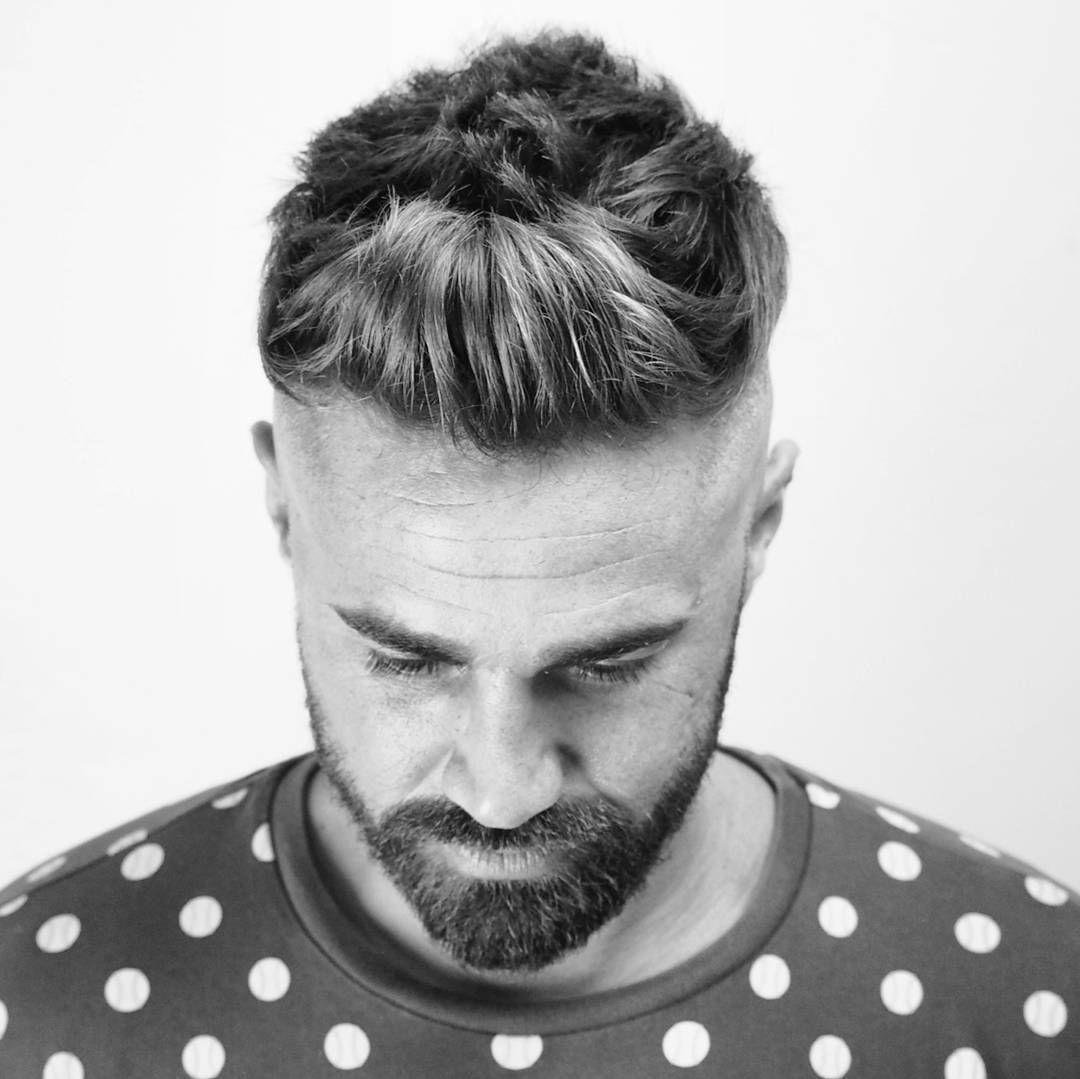 Ambarberia Front Quiff Haircut Men High Skin Fade With Beard Short