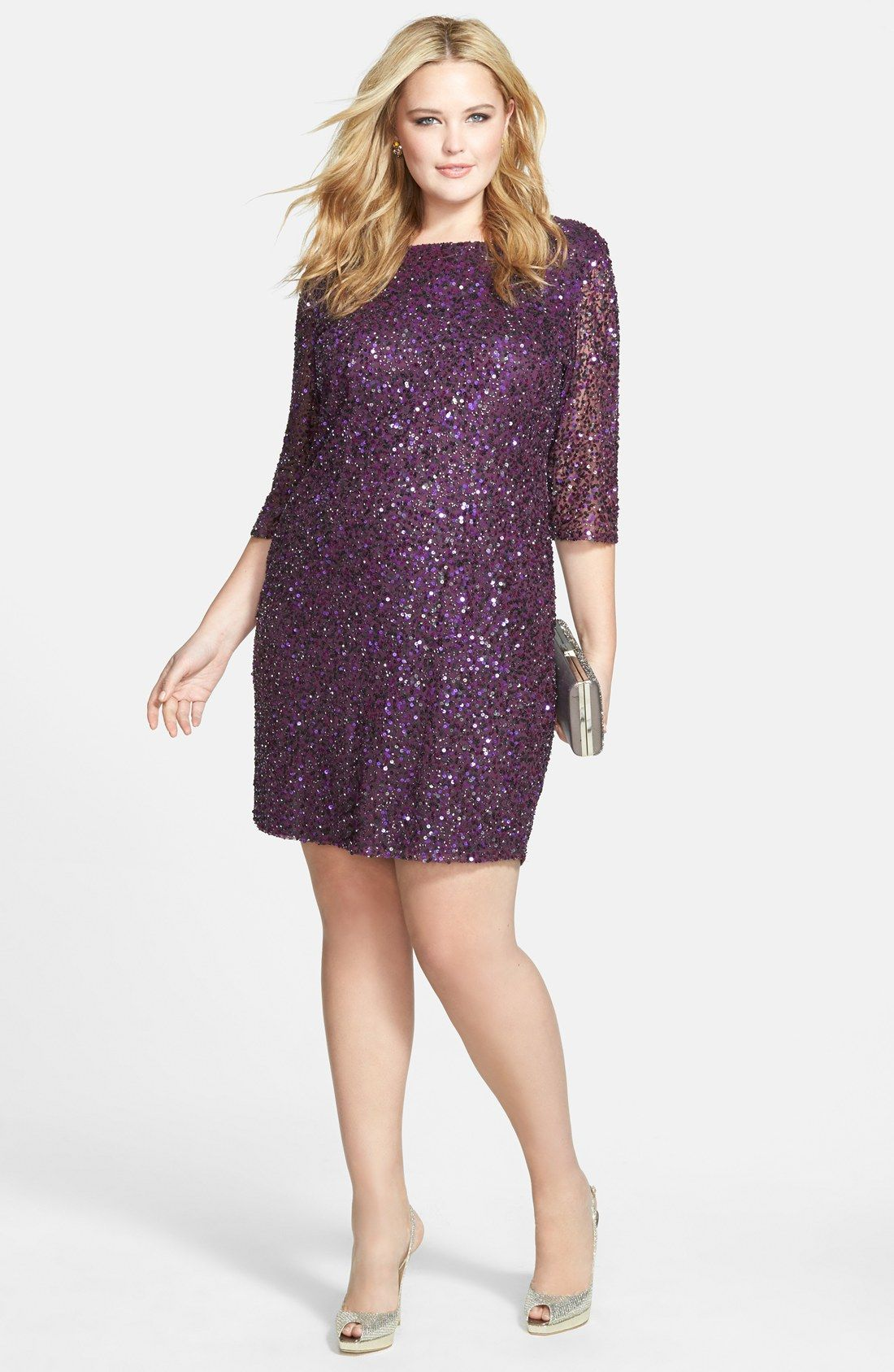 Plus Size Cocktail Dress - Plus Size Draped Back Beaded Dress ...
