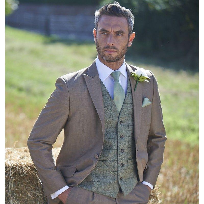Tweed Olive Green Waistcoat 237