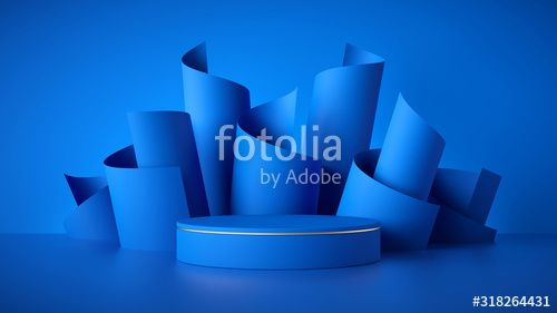 3d render abstract modern blue background empty cylinder podium vacant pedestal shop product display showcase round stage Scrolled paper rolls
