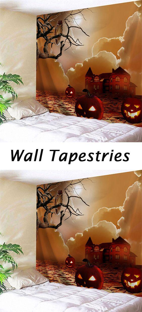 Pumpkin Lantern Print Halloween Wall Tapestry Wall tapestries