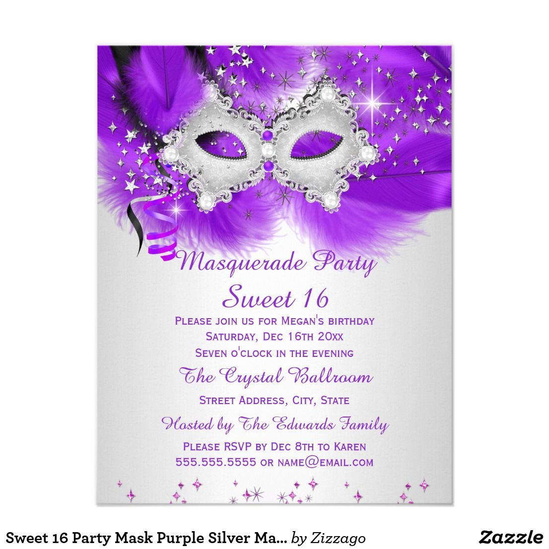 Sweet 16 Party Mask Purple Silver Masquerade Card   Sweet 16 ...