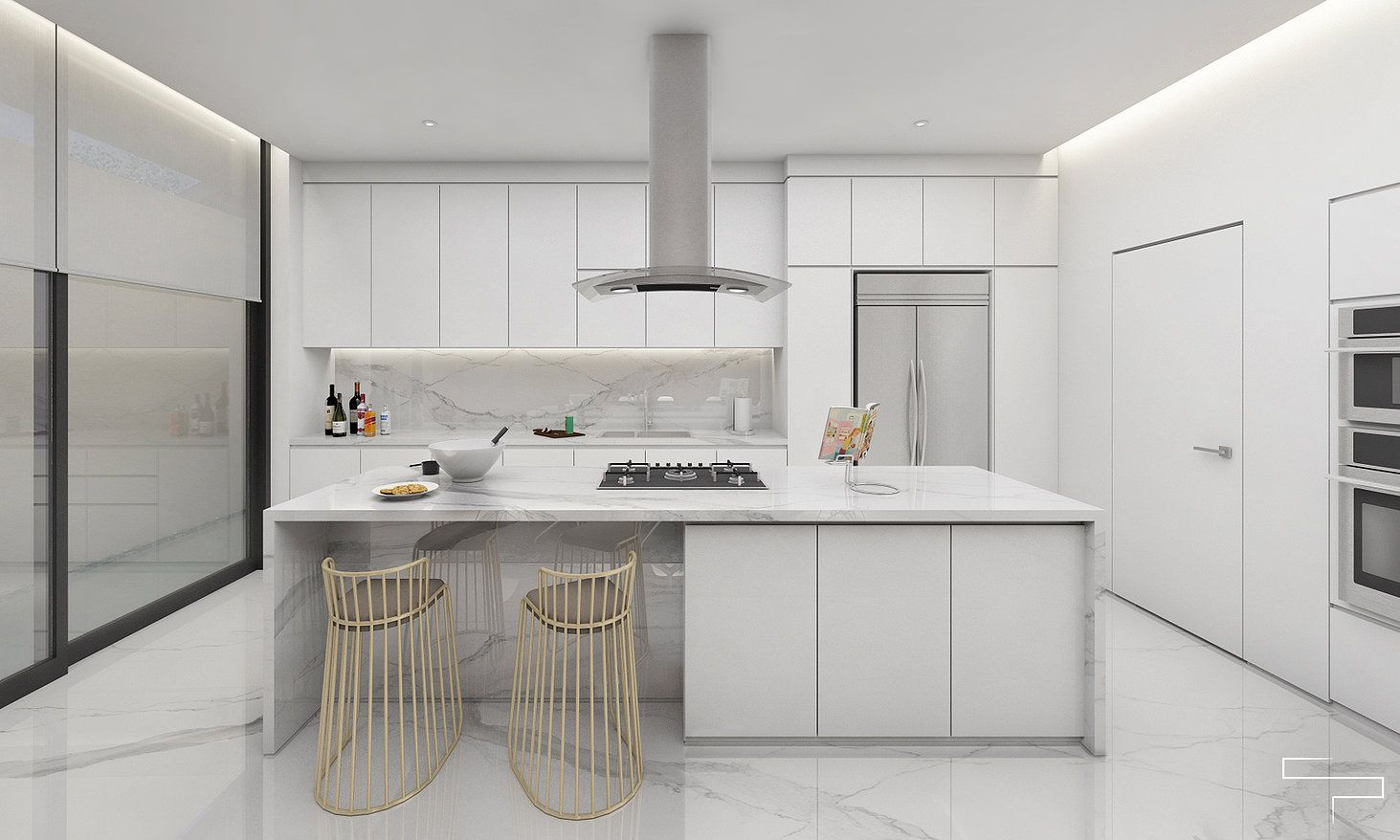 Simple modern kitchen with a touch of gold brass finish is always in