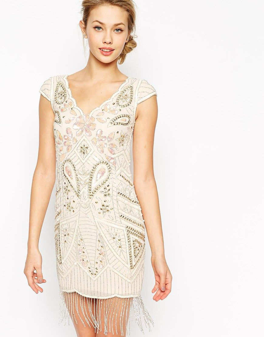 Great gatsby inspired wedding dresses  Frock and Frill Embellished Shift Dress With Tassel Hem  EP