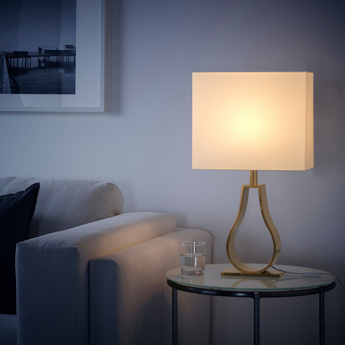 Klabb Table Lamp With Led Bulb Off White Brass Color Max 13 W Ikea In 2020 Table Lamp Small Table Lamp Table Lamp Lighting