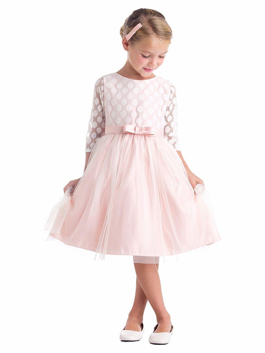 4d46ad24df Blush Polka Dot Mesh w  Satin Dress Girls Party Dress