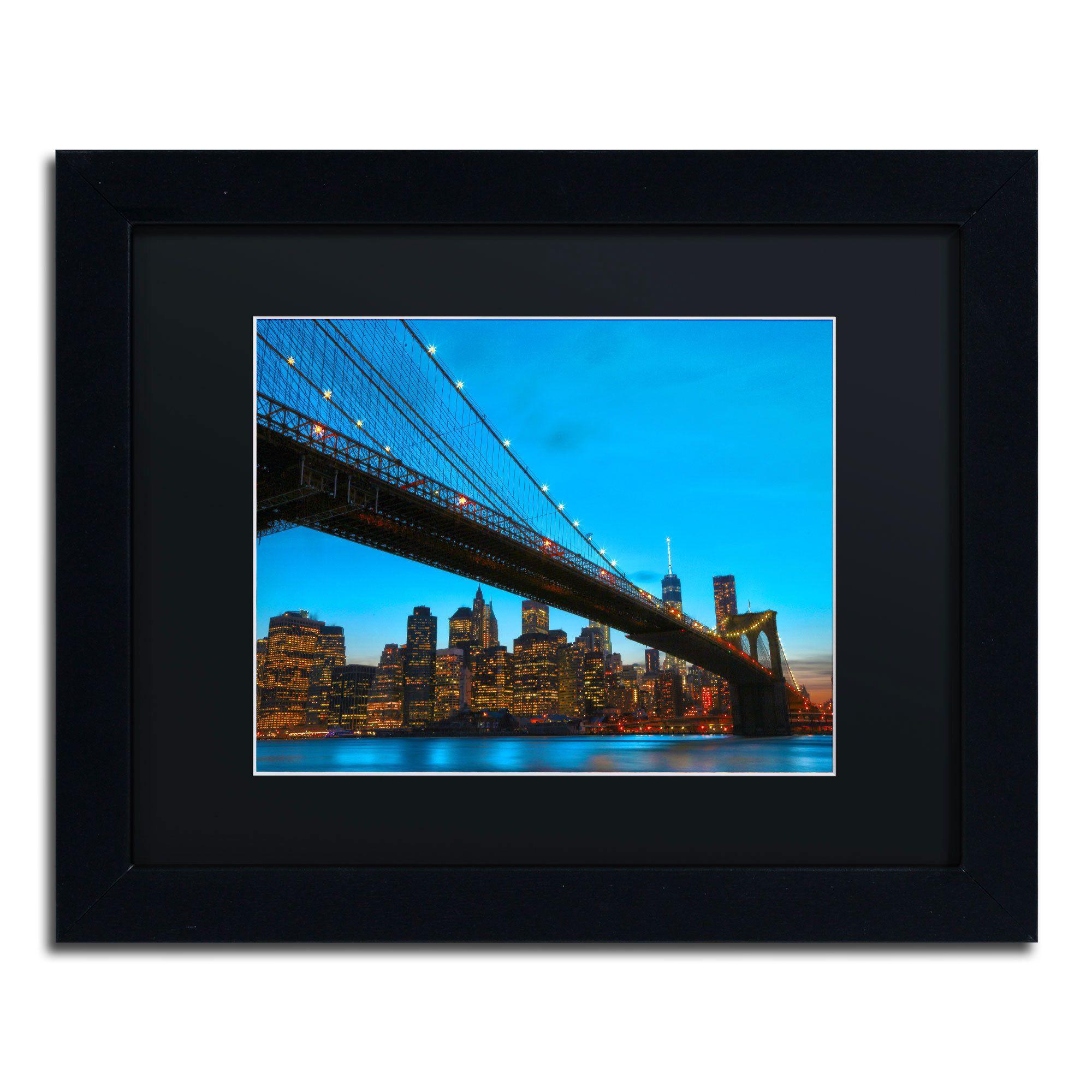 Cateyes ubrooklyn bridge u black matte black framed wall art by