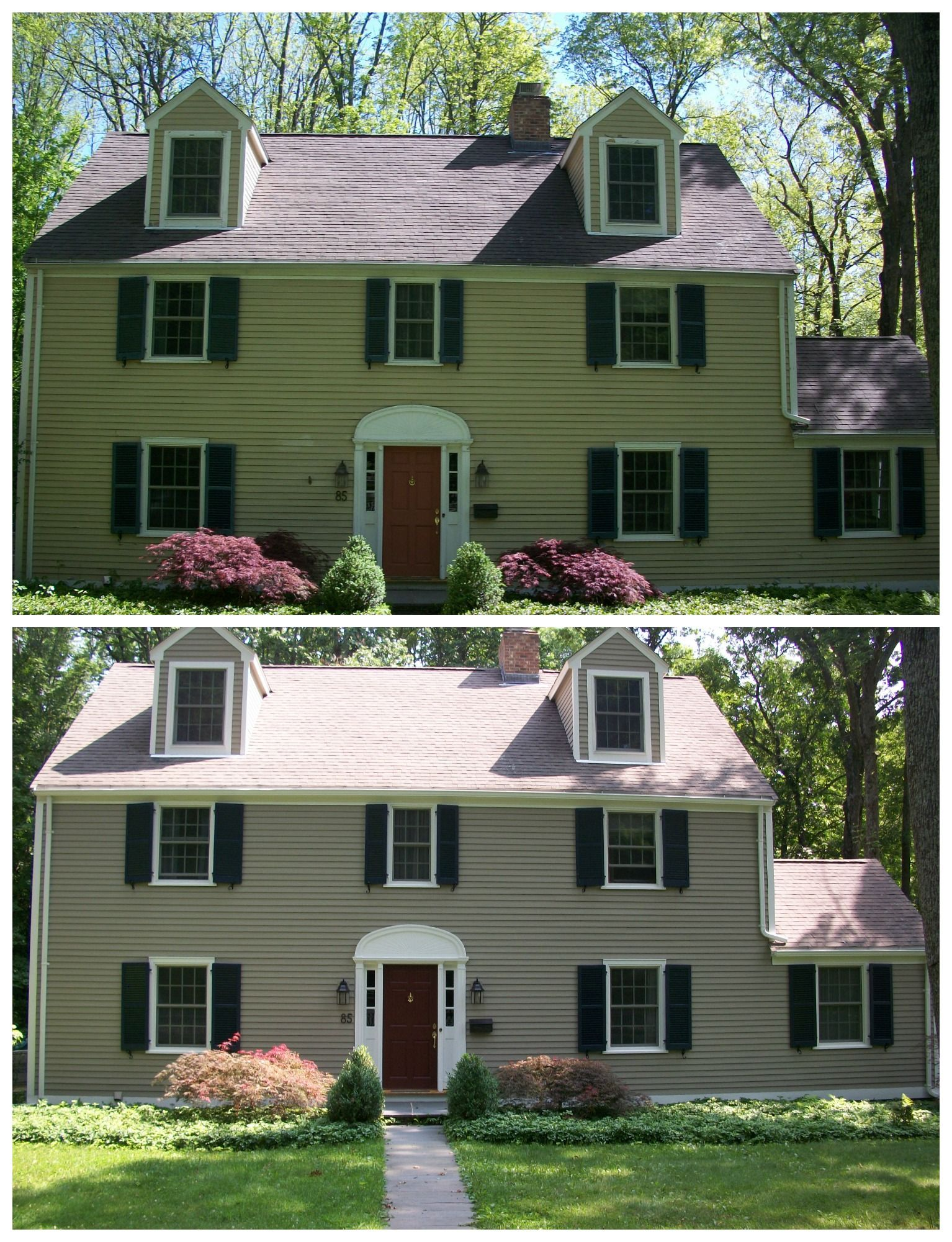 Before After Colonial Exterior Finally All Painted Sw Intellectual Gray 25 Shutters Bm