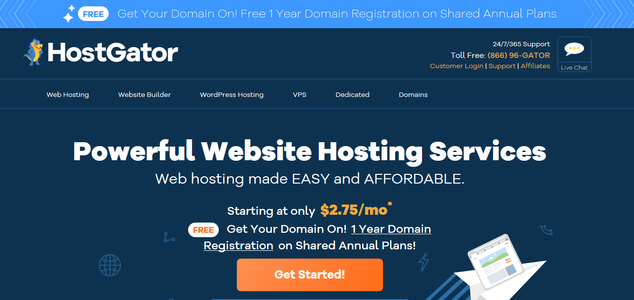 Get Annual Web Hosting From Hostgator Usa And Get Free Top Level Domain Name For 1st Year At 0 Only Web Hosting Web Hosting Website Website Hosting
