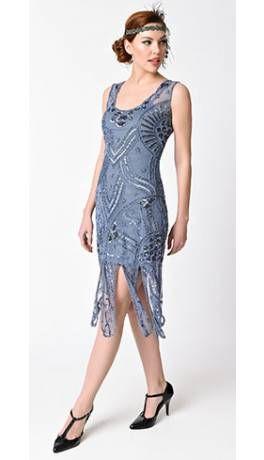 Dusty blue flapper dress