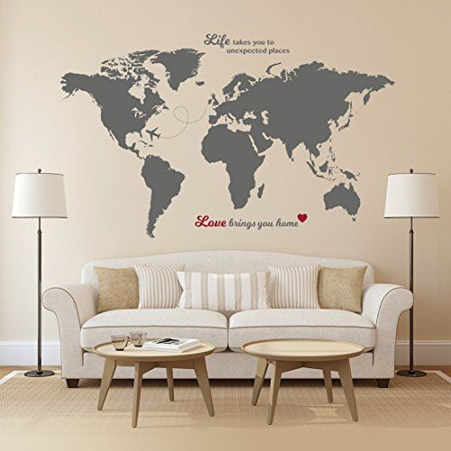 Timber Artbox Huge World Map Wall Decal With Quotes   Best For Adventurers  And Travellers