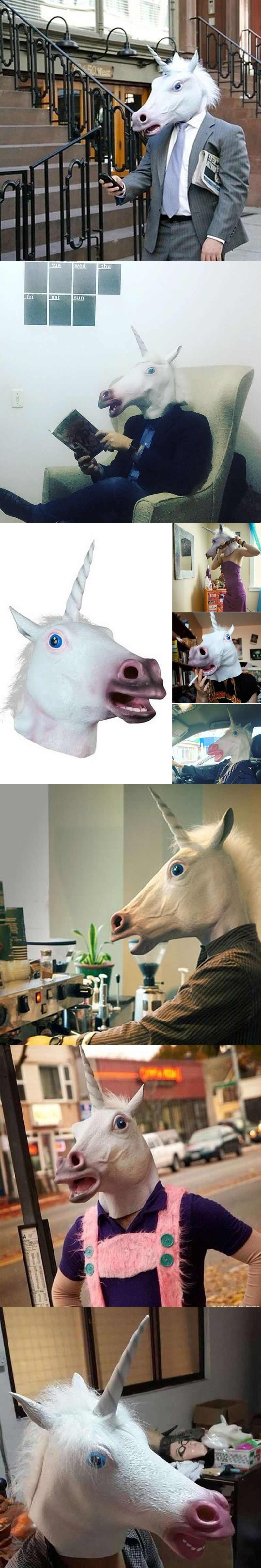 4300647b16fe 2016 Newest Style Unicorn Horse Head Mask Halloween Costume Party Gift Prop  Novelty Masks Latex Rubber