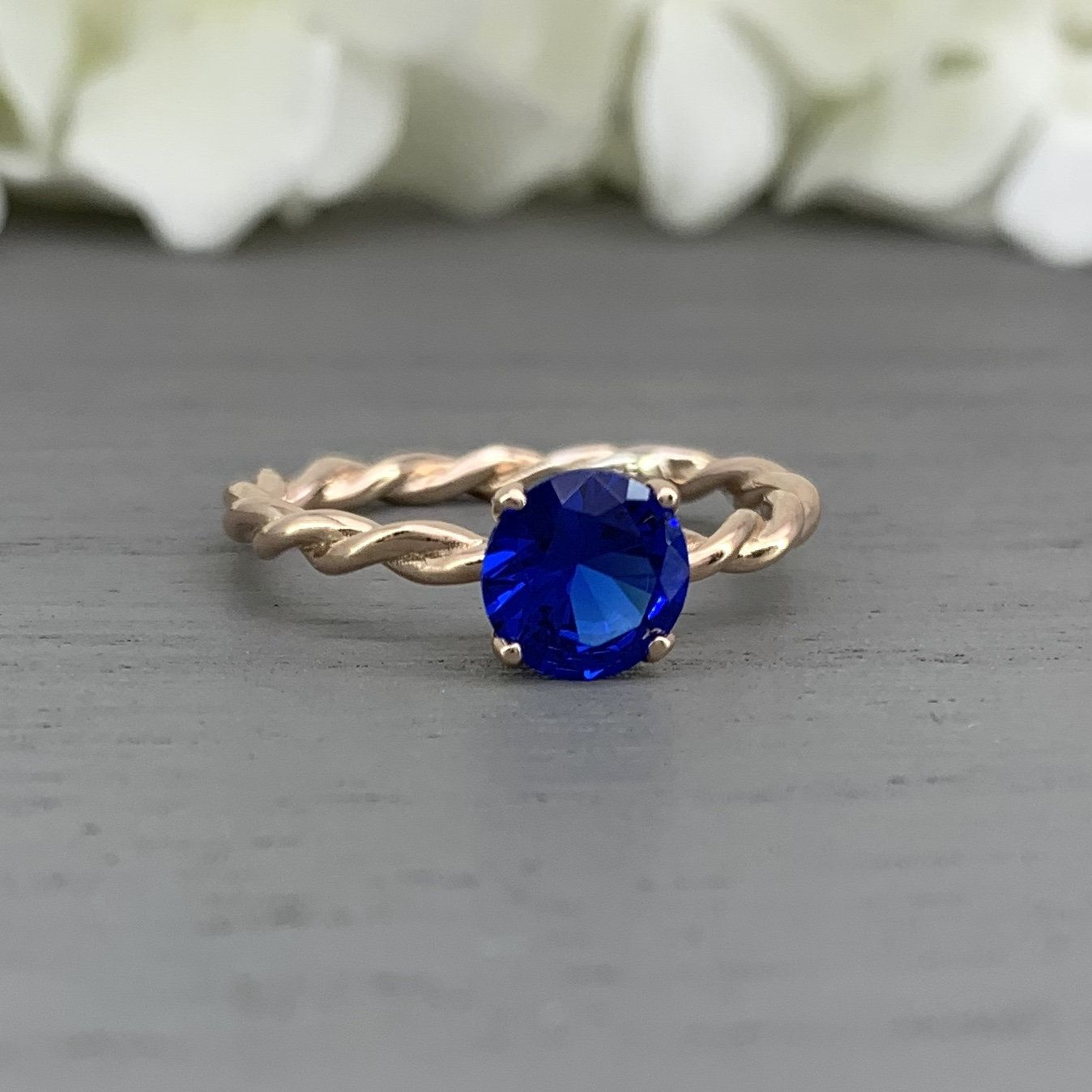 Rose Gold Round Blue Spinel 1.28Ct 7MM Braided Twisted