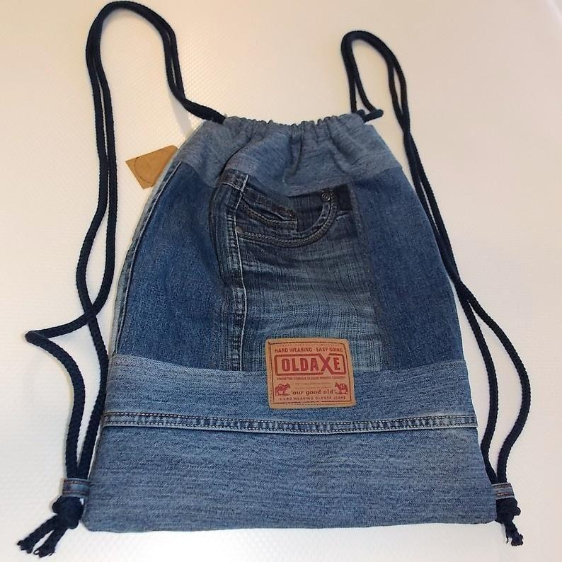 Bolsa de jeans, bolsa de gimnasio, bolsa de deporte, bolsa de deporte, mochila, reciclaje de jeans, reciclaje