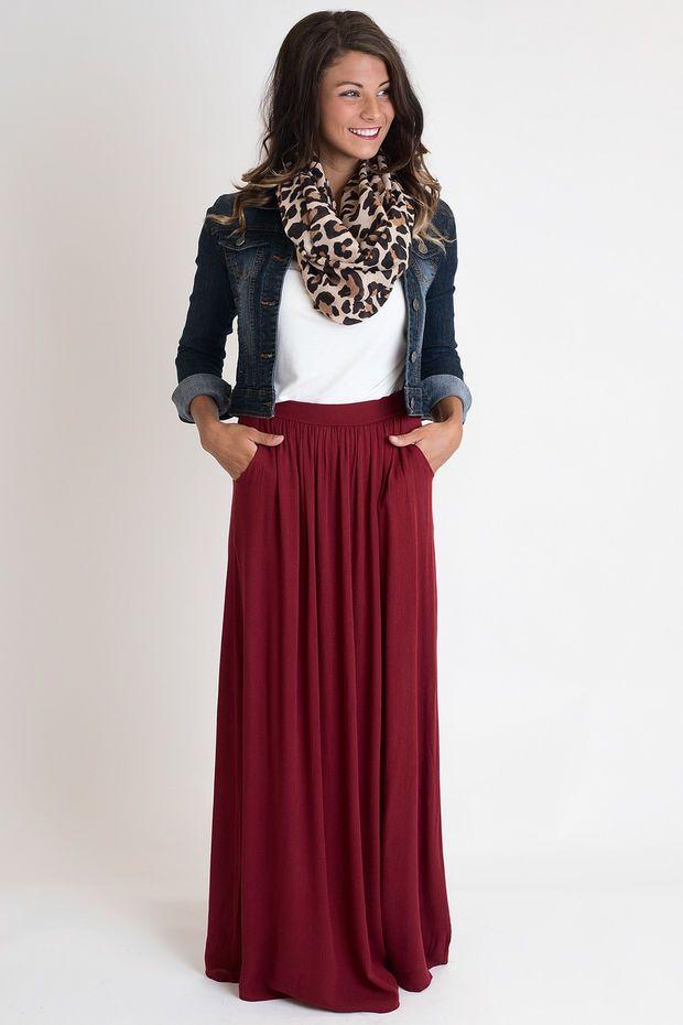 Tricks Or Treat Burgundy Maxi Skirt
