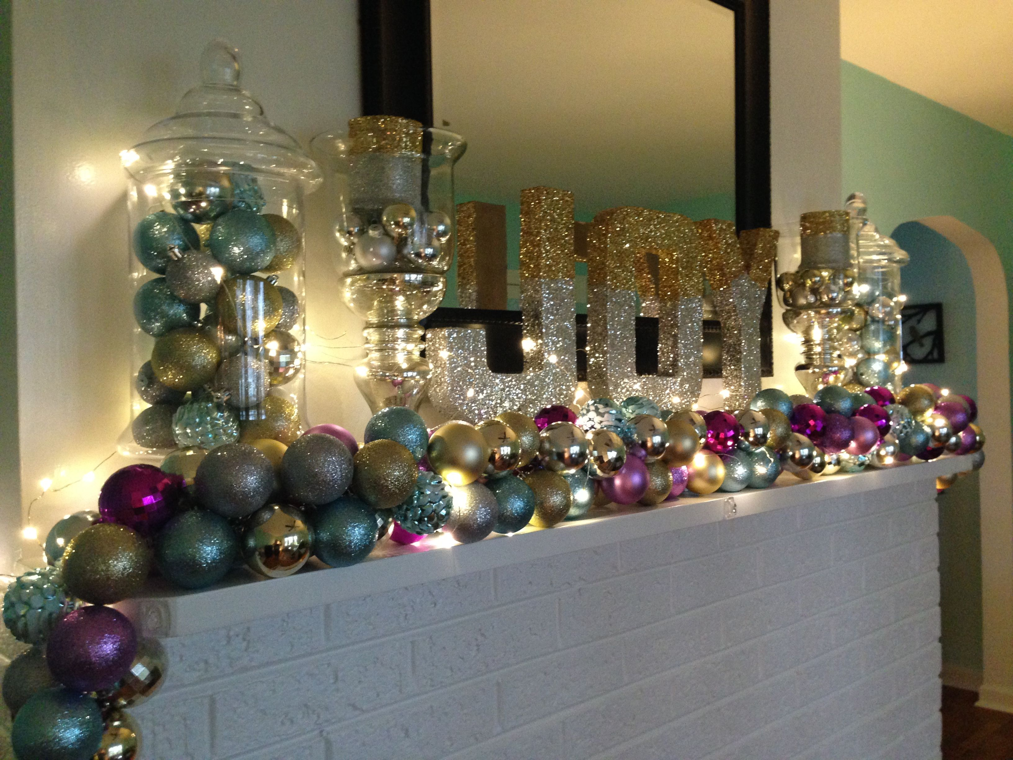 Christmas Holiday Mantle. Bulb Ornament Garland, Glittered Paper Mache letters.