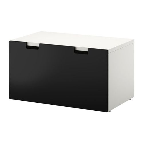 IKEA - STUVA, Storage bench, white/black, , Low storage makes it easier for children to reach and organise their things.Stands steady also on uneven floors since adjustable feet are included.