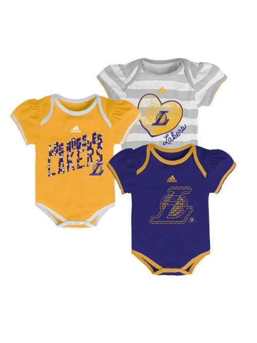 9487b9e5ea7 Los Angeles Lakers Newborn Girls 3 Point Play 3-Piece Bodysuit Set – Lakers  Store