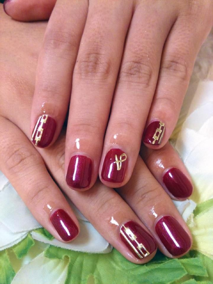Dark Red Gel Floater Nails with Rococo Style Stickers and ...