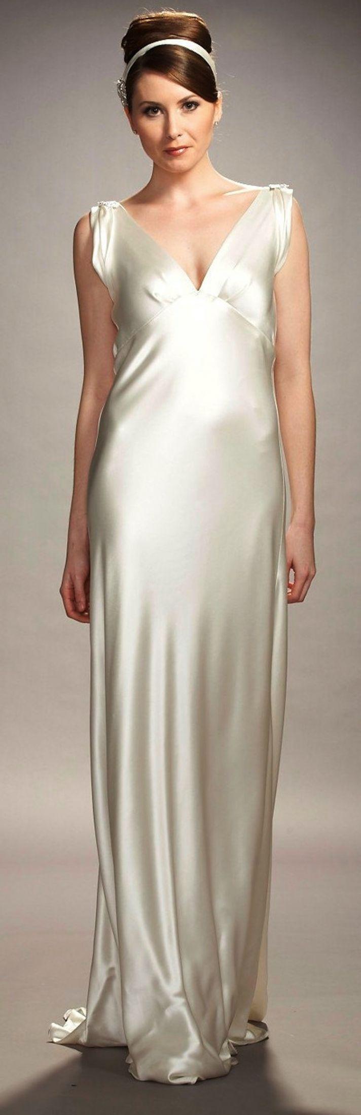 Sleek and elegant liquid satin wedding dresses ire wraith costume