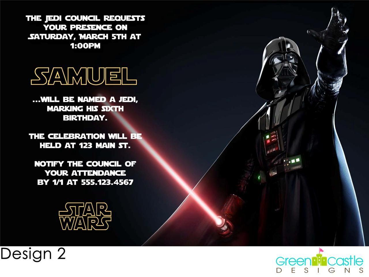 20 Star Wars Darth Vader Birthday Party Invitations Star wars
