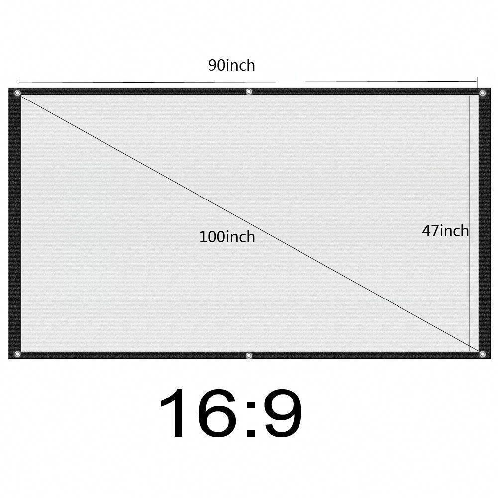 Aupuda 16 9 Portable Projection Screen 100inch Diagonal Home Theater Cinema Projector S Home Theater Projectors Portable Projector Screen Home Cinema Projector