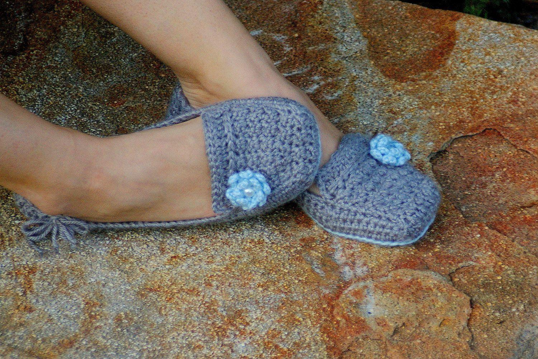 free crochet womens slipper patterns | Womens House Slipper PDF ...
