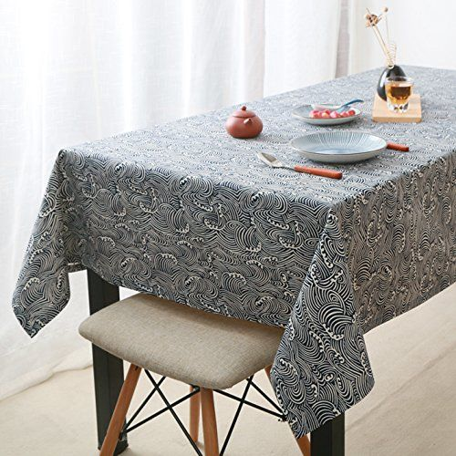 WFLJL Tablecloth European Style Rural Dining Table Retro Fresh Linen Coffee  Table Wave 60X60cm