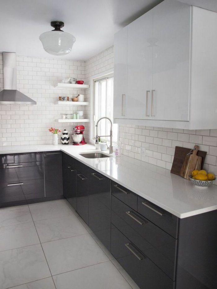 1-cuisine-lаquée-gris-avec-meubles-lаqués-gris-carrelage-beige - fixer plan de travail cuisine