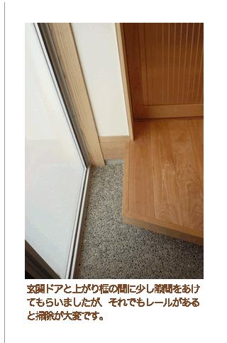 玄関ドアと上がり框の間に少し隙間をあけてもらいましたが それでもレールがあると掃除が大変です 玄関 床 石 玄関 石