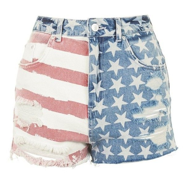 Topshop Flag Denim Mom Shorts (31 CAD) ❤ liked on Polyvore featuring shorts, bottoms, high-waisted jean shorts, high waisted shorts, frayed denim shorts, short jean shorts and topshop
