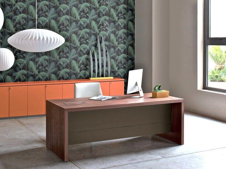Rectangular Wooden Executive Desk Campiello By Estel Group Design Alberto Stella