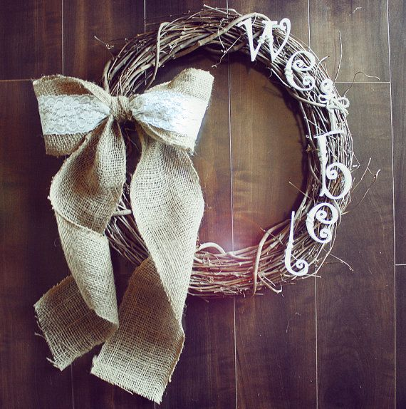 Personalized Vintage Shabby Chic Rustic Grapevine Wreath with a Burlap & Lace Bow. on Etsy, $35.00