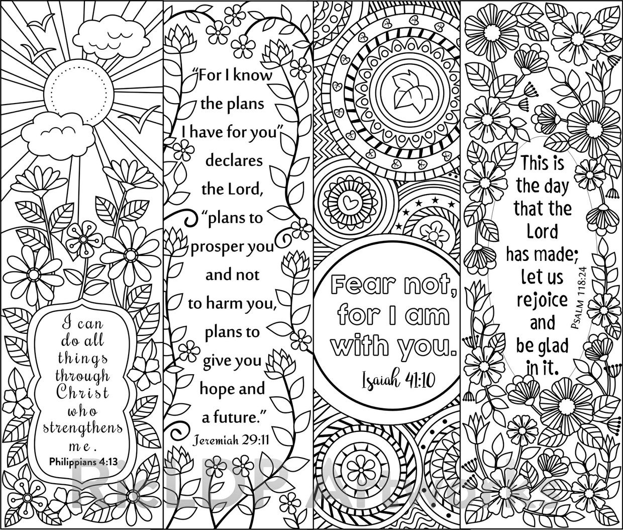 Bookmarks to color of dr king - 8 Bible Verse Coloring Bookmarks