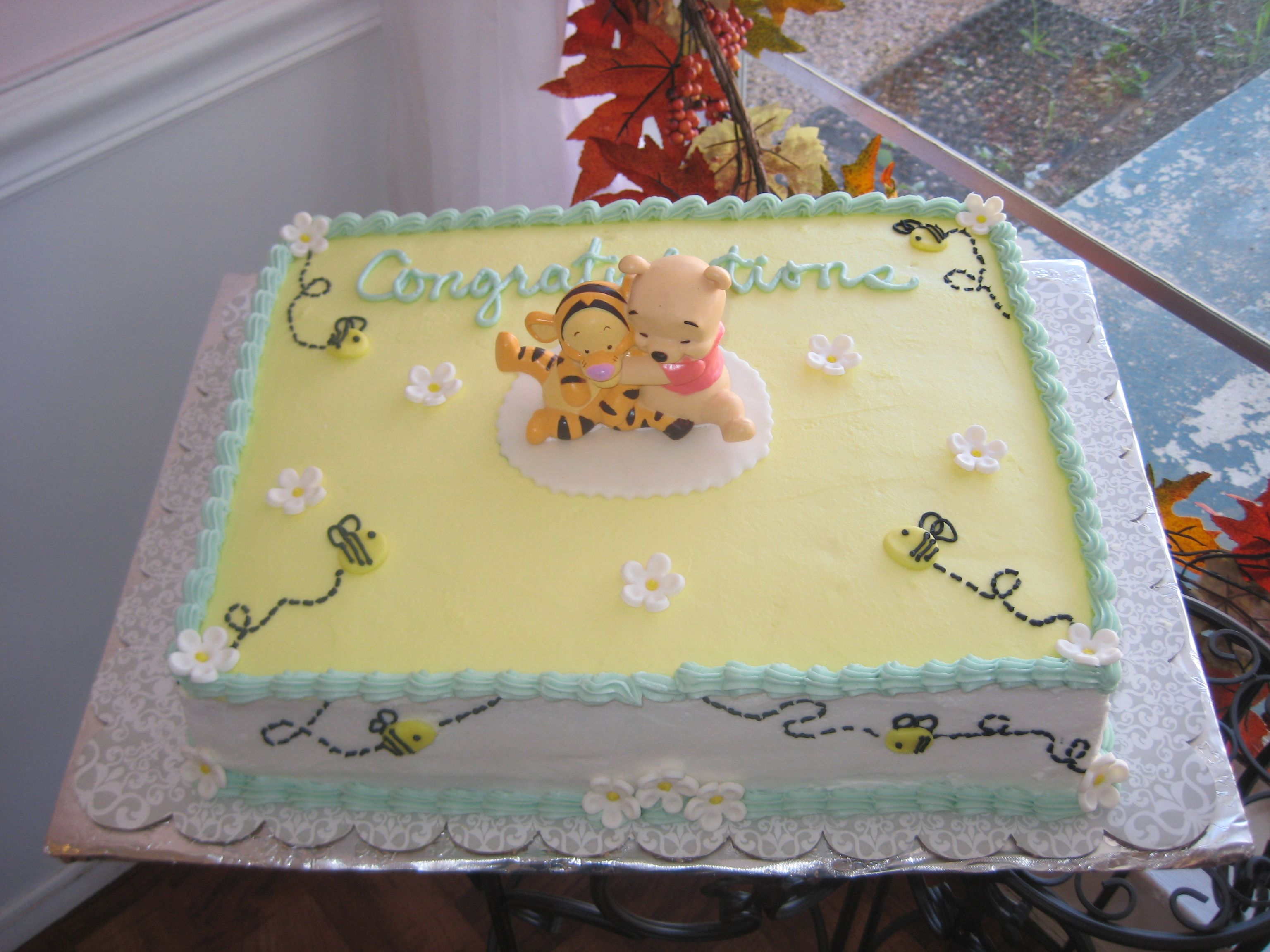 Superb Winnie The Pooh Shower   This Is A Sheet Cake Covered In Buttercream With  Fondant Honeybees