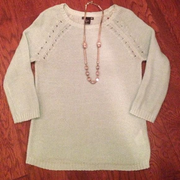 Mint Green Loose Knit Sweater True mint green color. XS but fits like a small. Small snag in arm, reflected in price. H&M Sweaters
