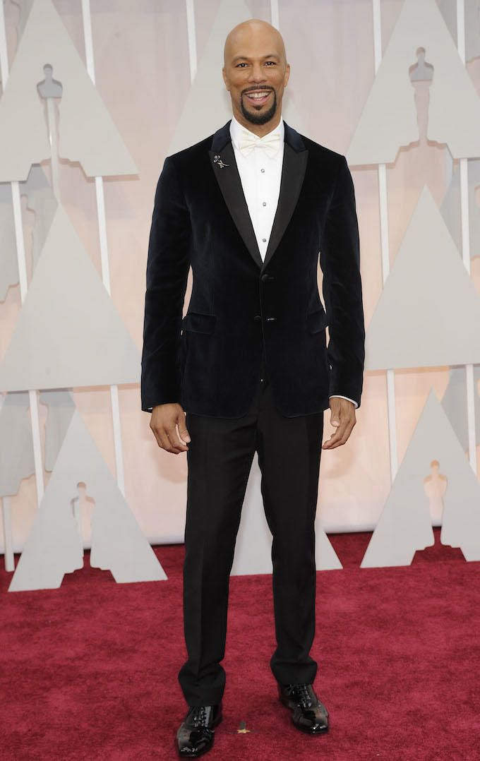 Common looking chic in a white bow tie.  Click through to see all the Best and Worst Dressed at the 2015 Academy Awards.