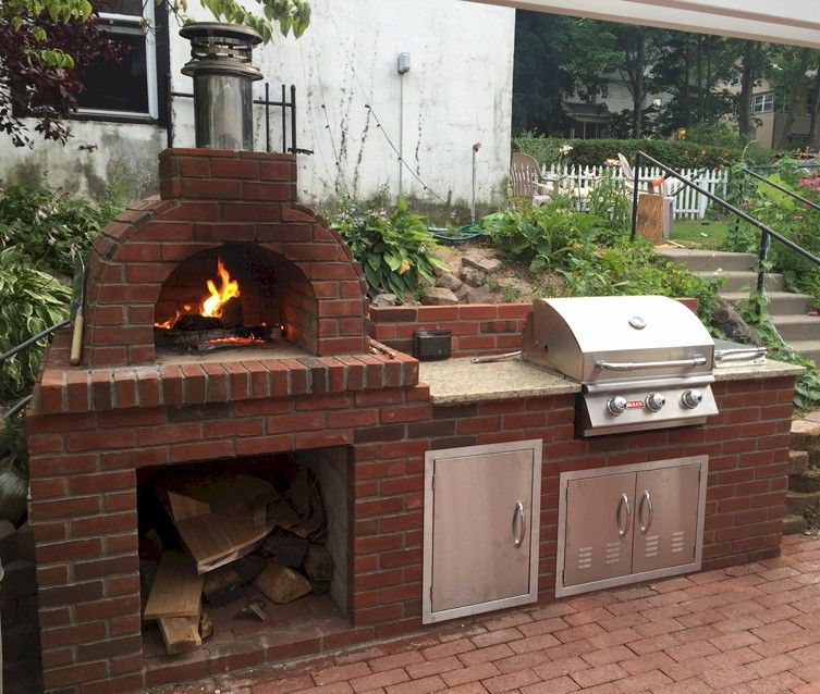 Wood Fired Outdoor Brick Pizza Oven And Bbq Brick Pizza Oven Outdoor Brick Pizza Oven Outdoor Kitchen Design