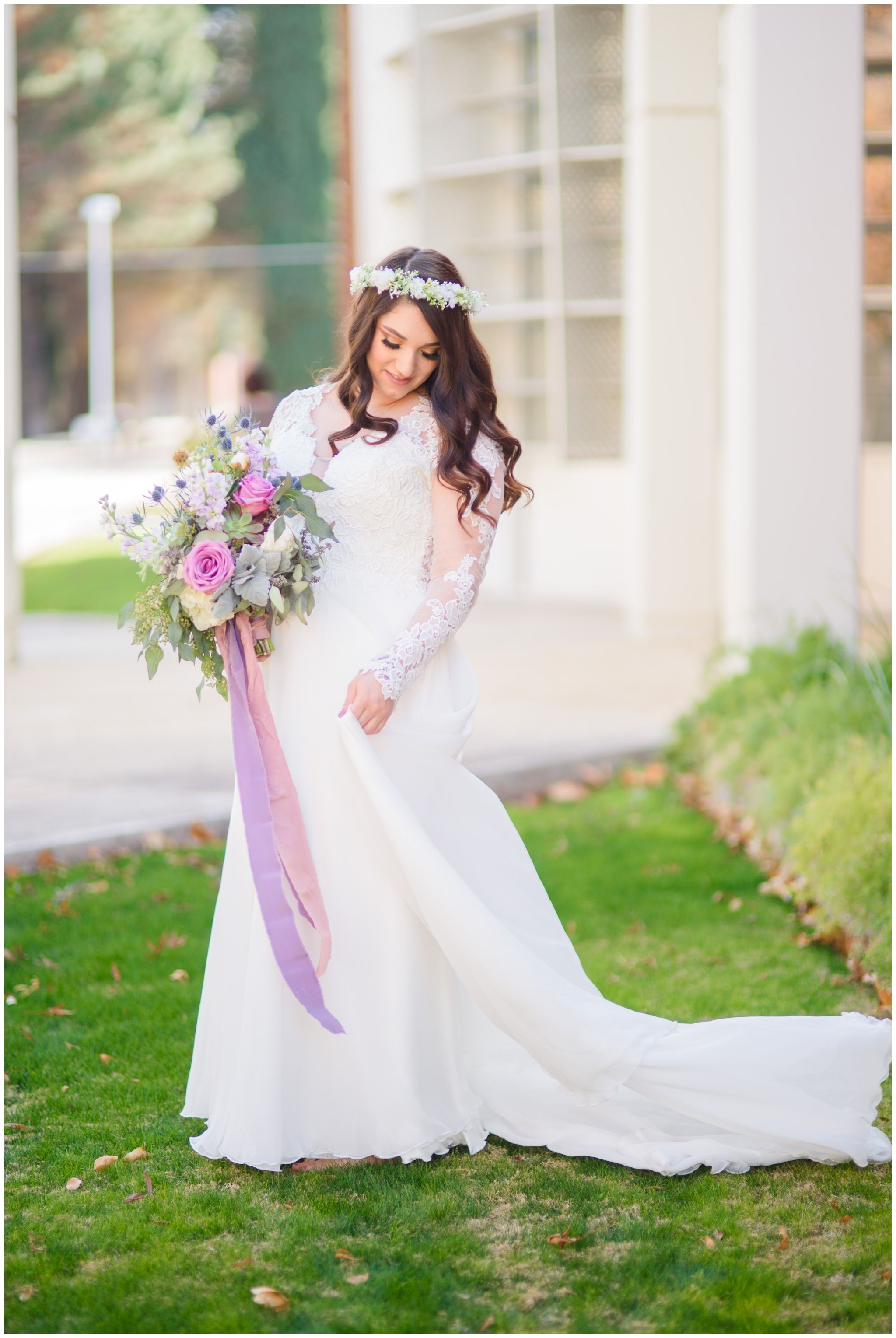 Bride wearing chiffon wedding dress at Eastern Arizona College ...