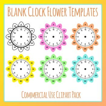 Blank Clock Flowers Template Clip Art Set for Commercial Use