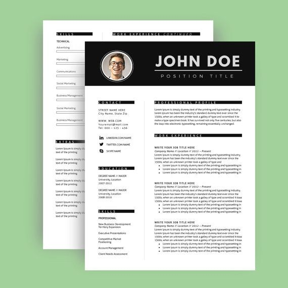 resume template with photo    cv template   cover letter