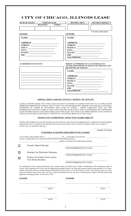 Free Illinois Chicago Only Residential Lease Agreement Template