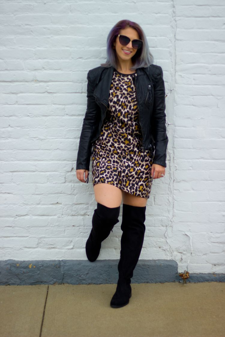 Leopard, leather, and over the knee boots